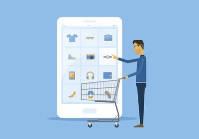 Graphic of a man shopping on a smartphone