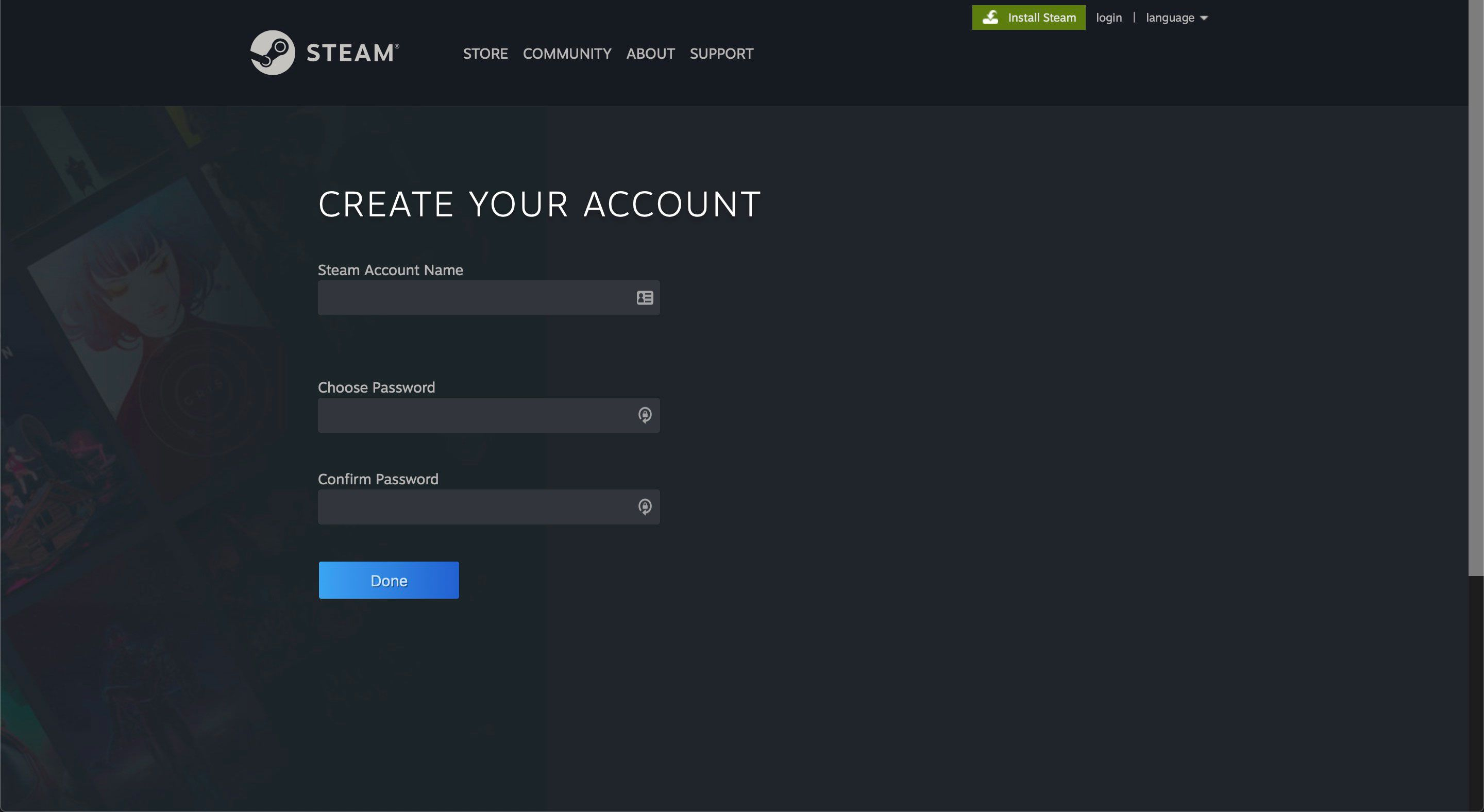 The Steam Account Name and password page