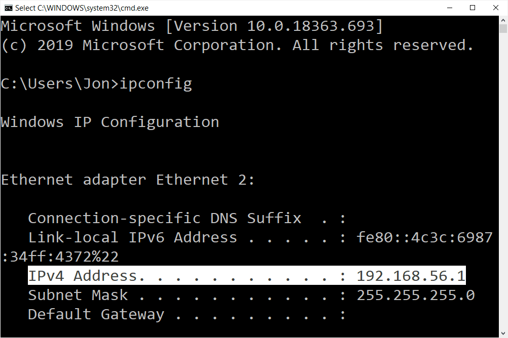 ipconfig command in Windows 10