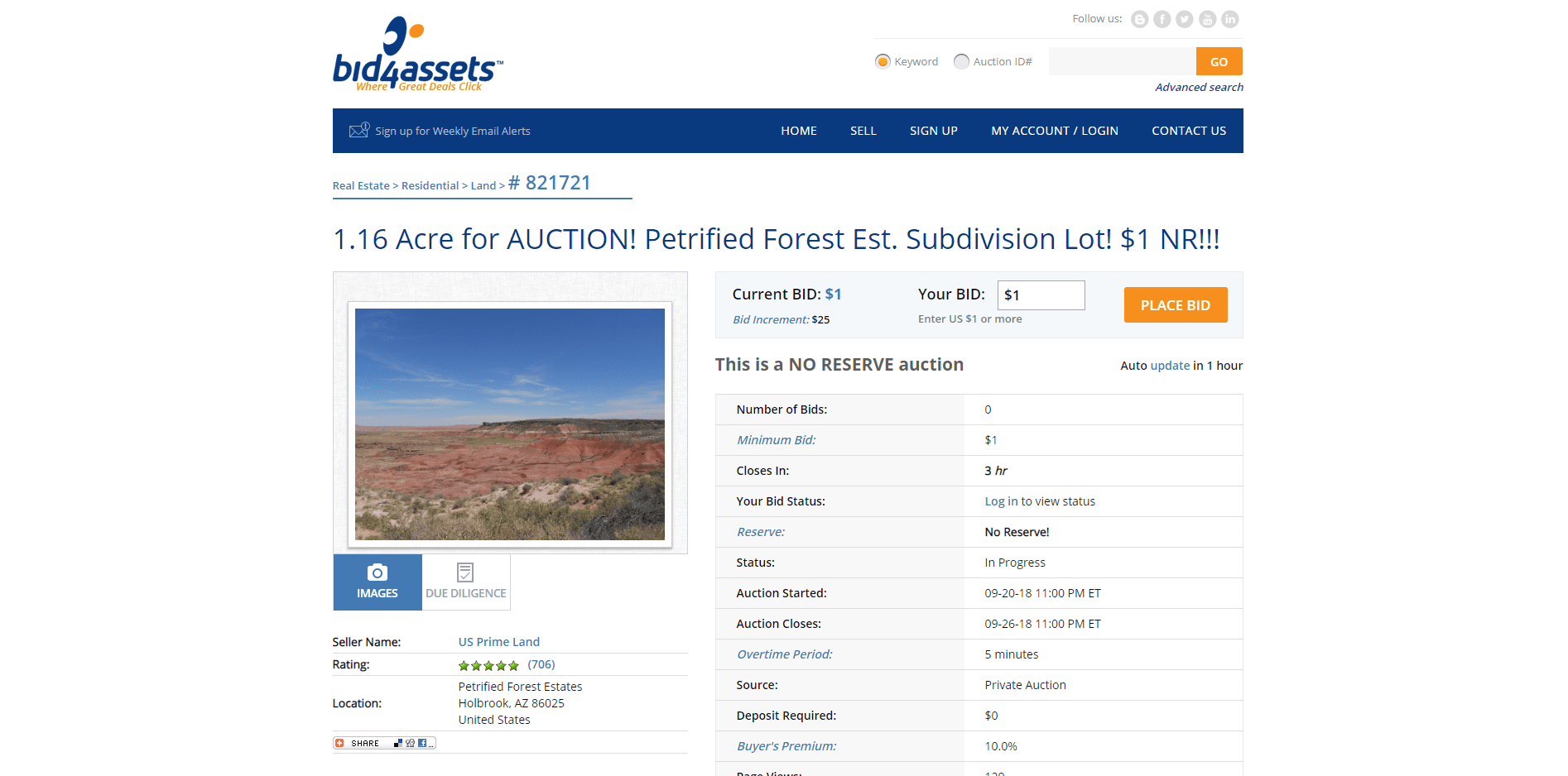 An absolute auction starting at $1 on the bid4assets.com website.