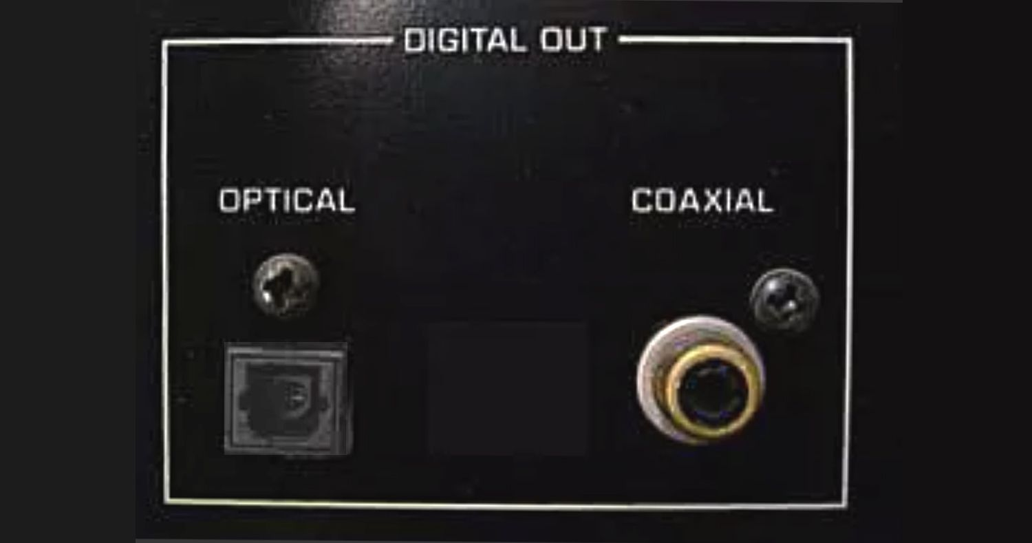Typical optical and coaxial digital outputs
