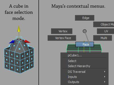 Maya's Contextual Menus and Selection Modes