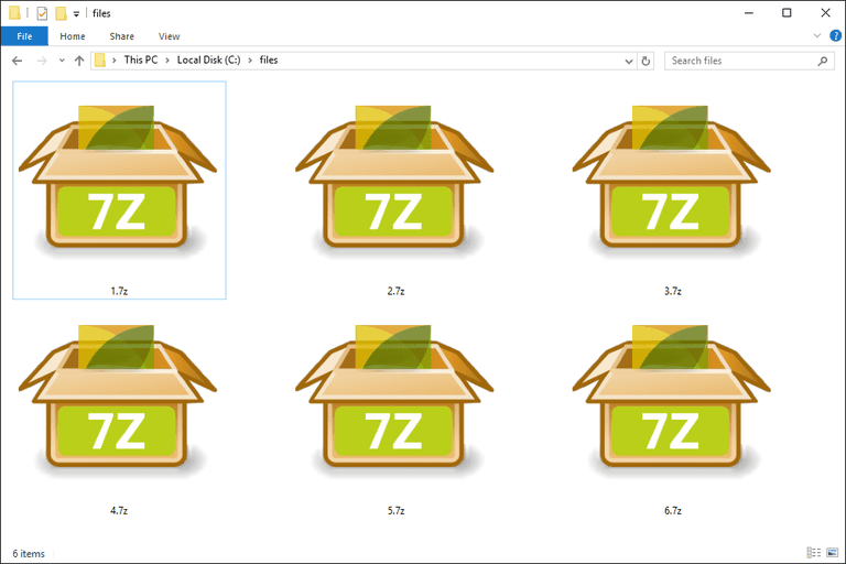 Screenshot of several 7Z files in Windows 10 that open with PeaZip