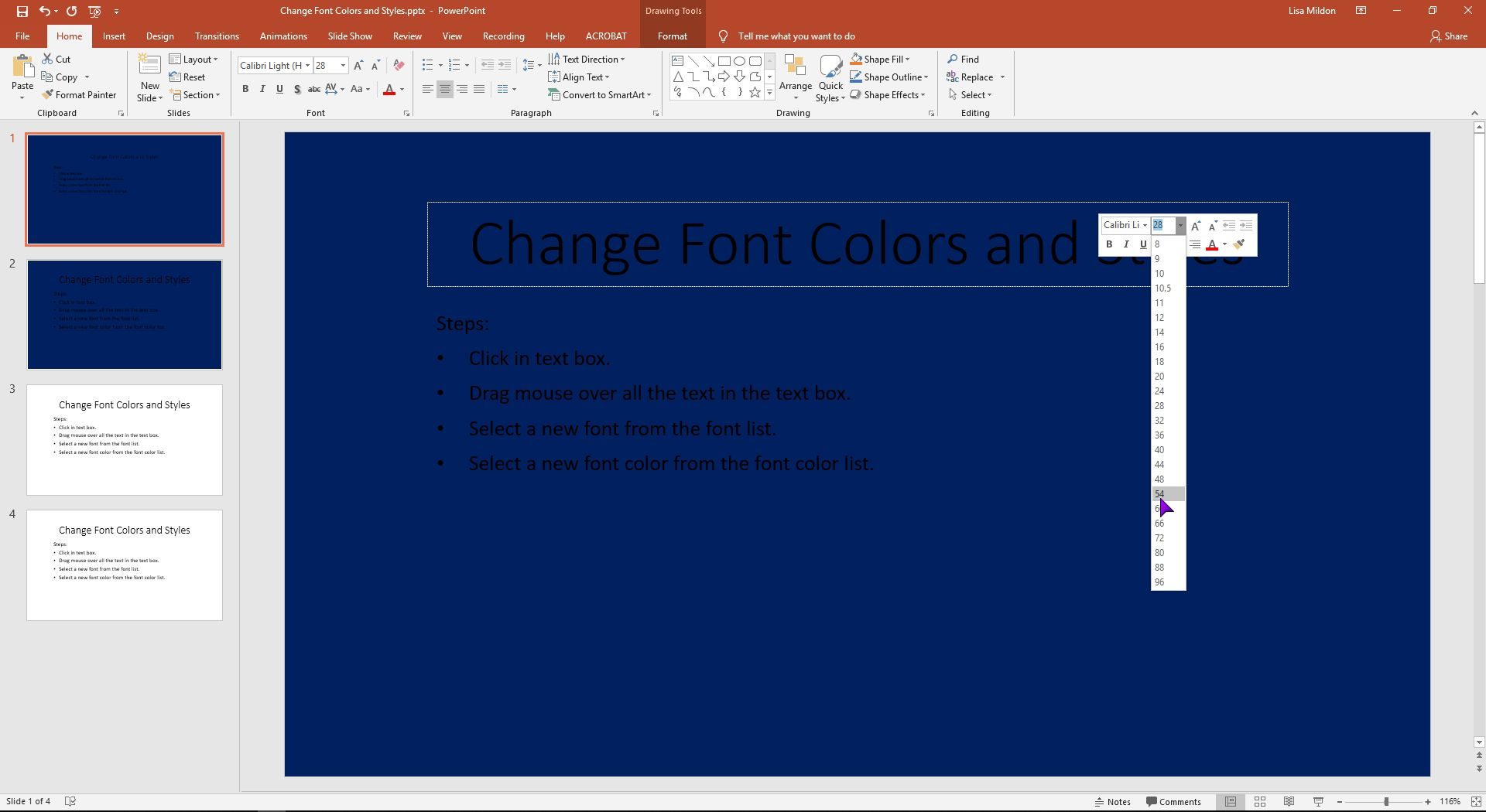 PowerPoint slide showing the font being increased.