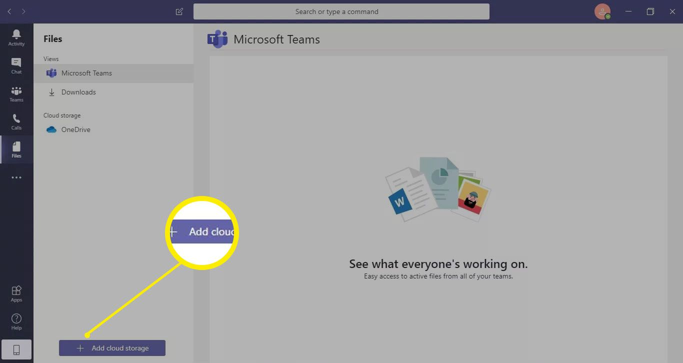Select Files in the toolbar to view all of the files you have access to for each of your teams.