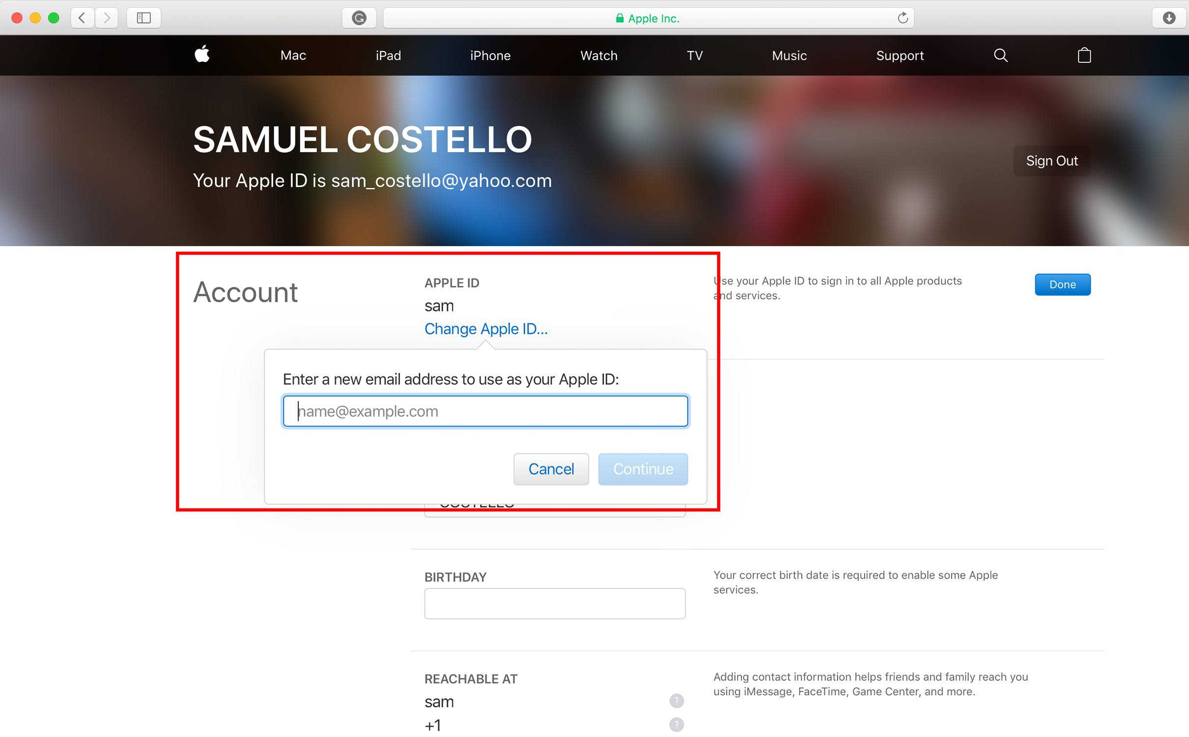 how to change apple id email billing address credit card