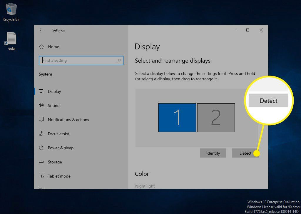 Detect button in Windows Display settings