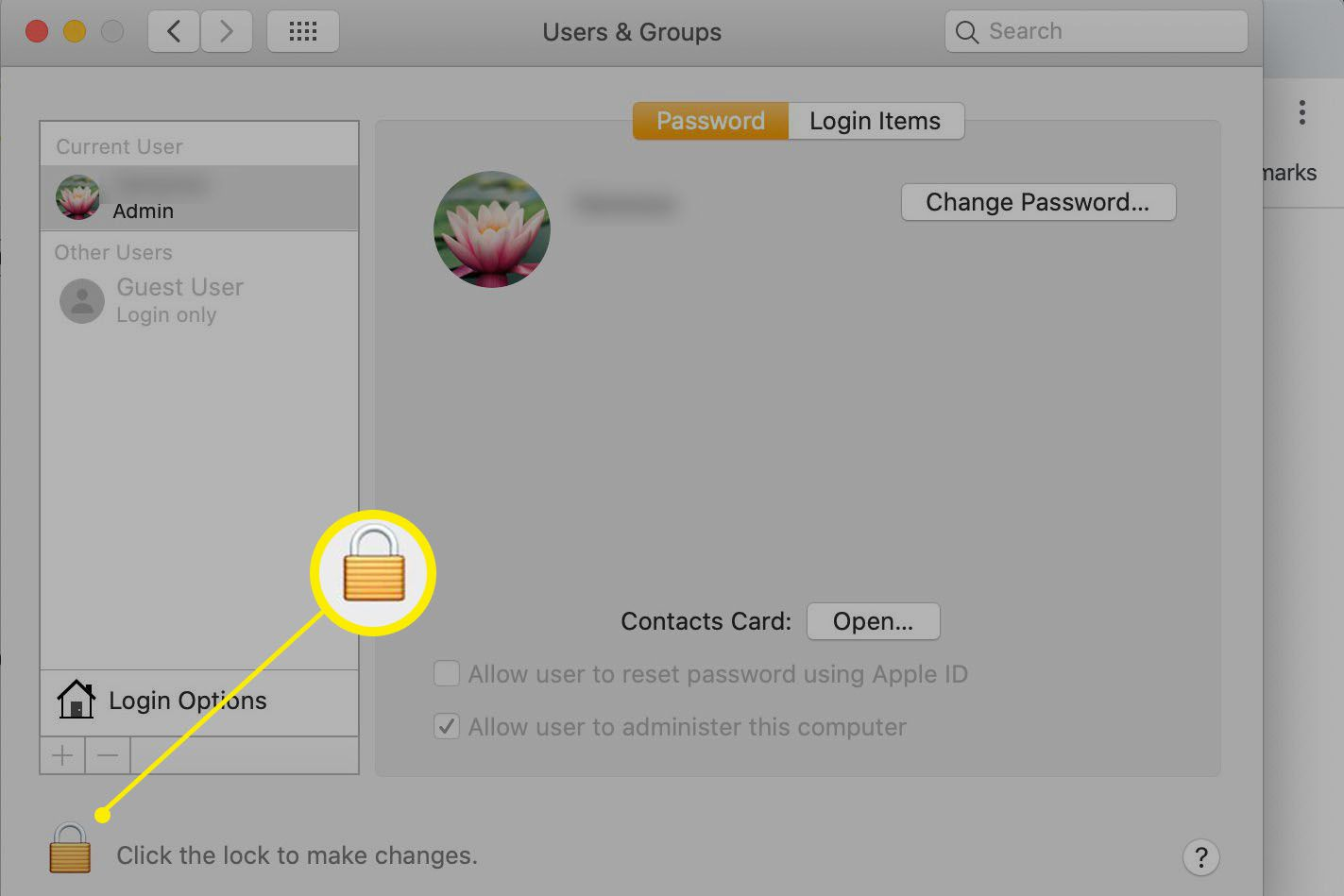 macOS System Preferences > Password