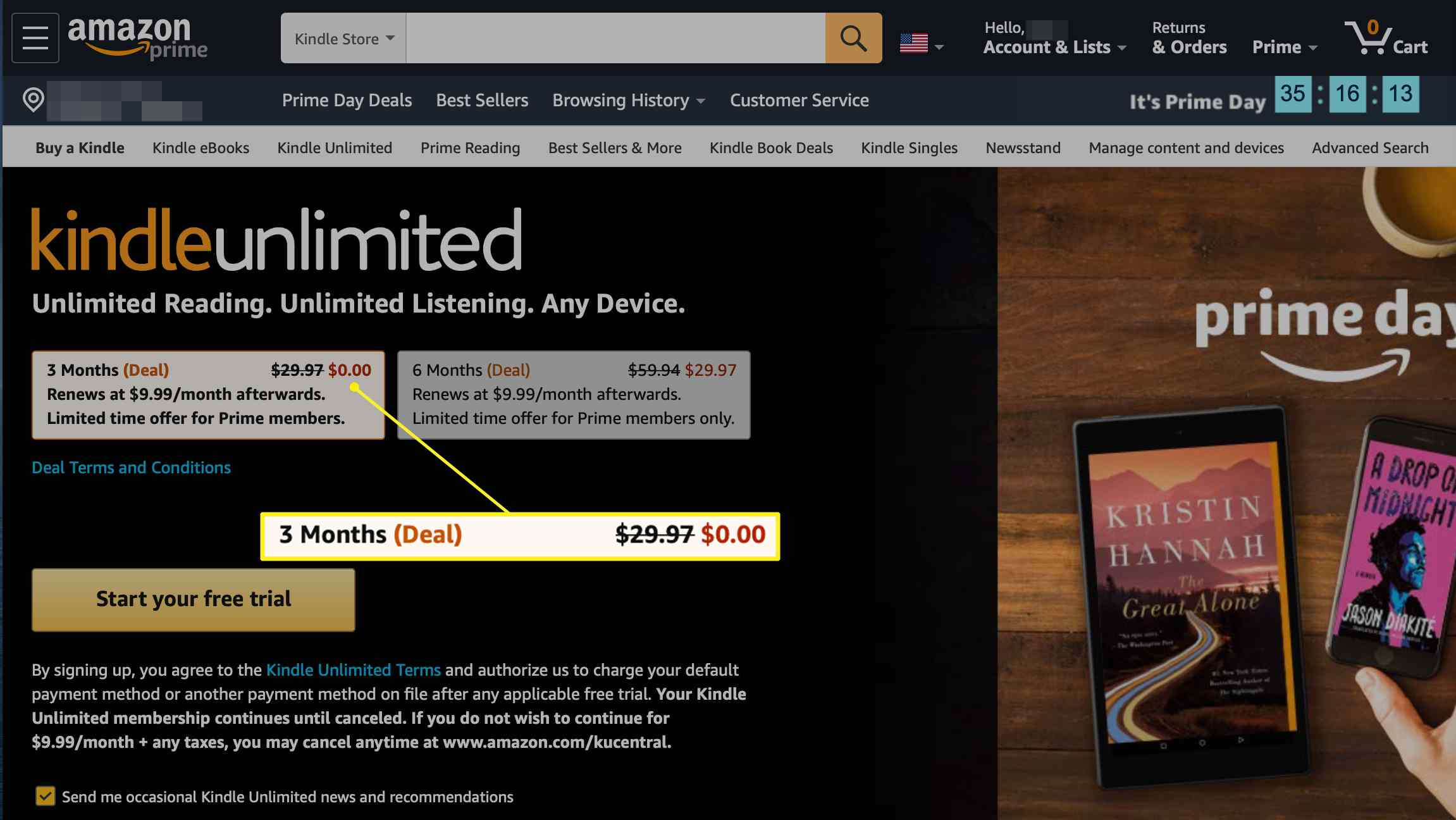 Kindle Unlimited free option button on Amazon.com