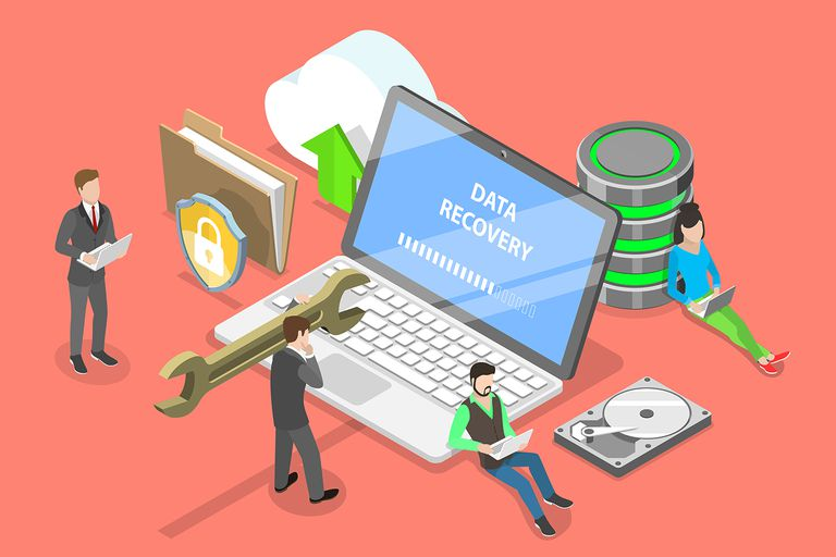 Isometric flat vector concept of data recovery services, data backup.