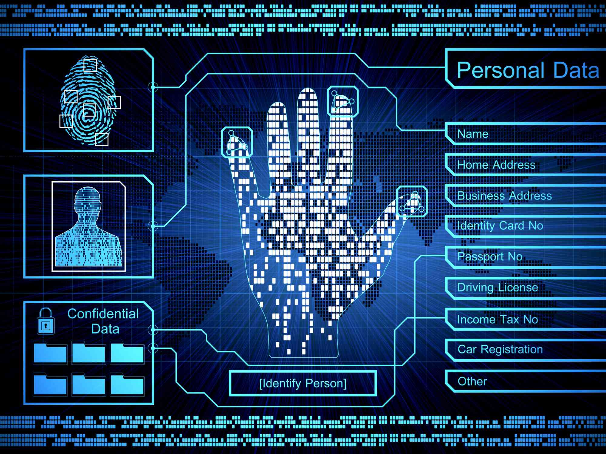 A security concept image showing the collection of personal information, including biometric data.