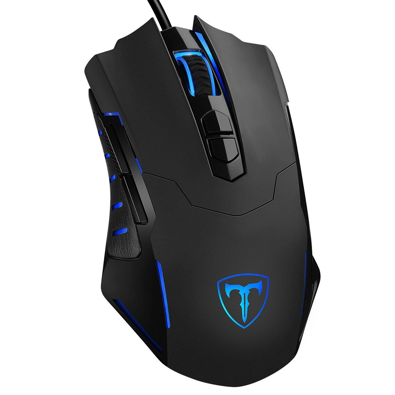 PICTEK Gaming Mouse, black, with electric blue light-up logo and scroll wheel
