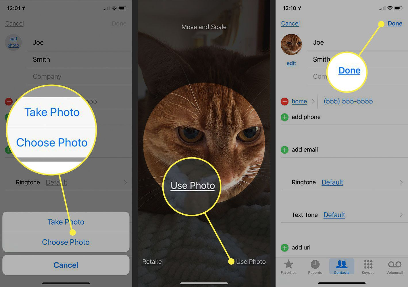 iPhone screenshots showing how to take a new photo for a contact