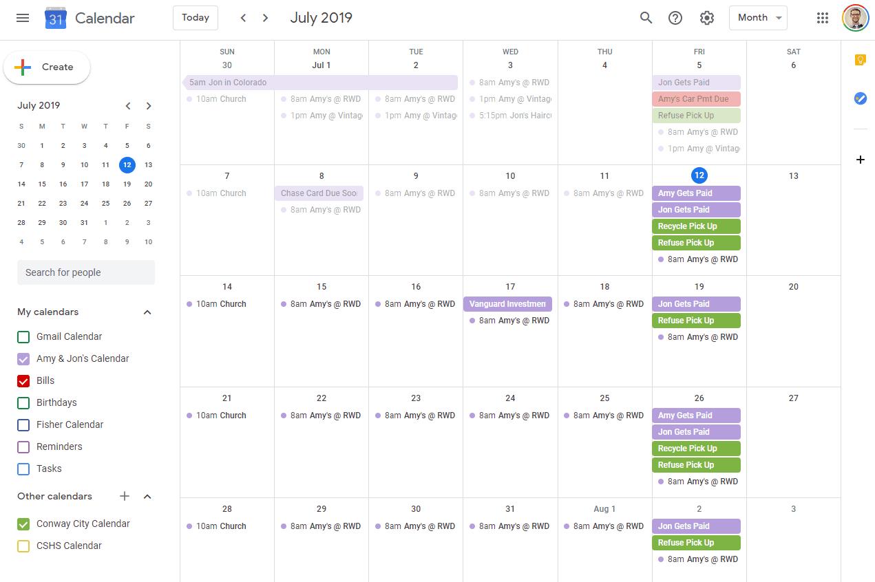 Google Calendar Month View in Chrome