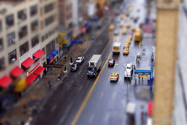Tilt shift effect applied to a photo of a city street