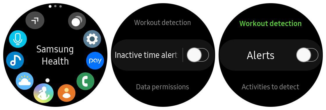 Screenshots of Samsung Health settings