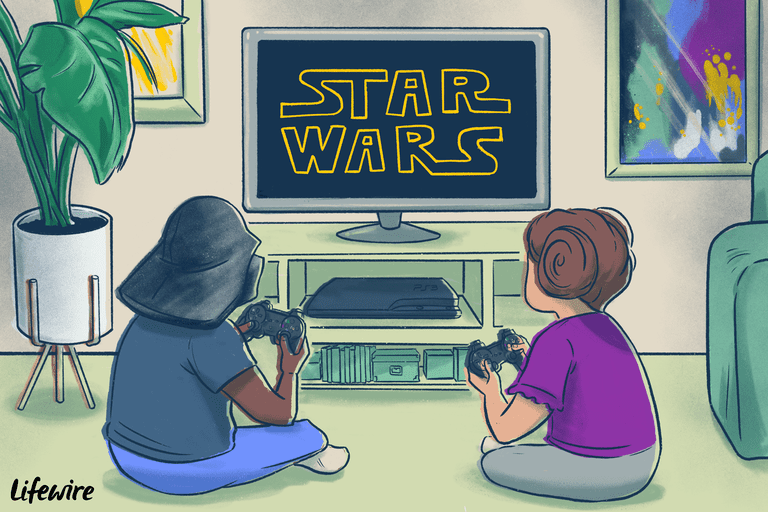 Two children playing Star Wars video game on a PlayStation 3, one has a Darth Vader helmet on, the other has Princess Leia hair buns