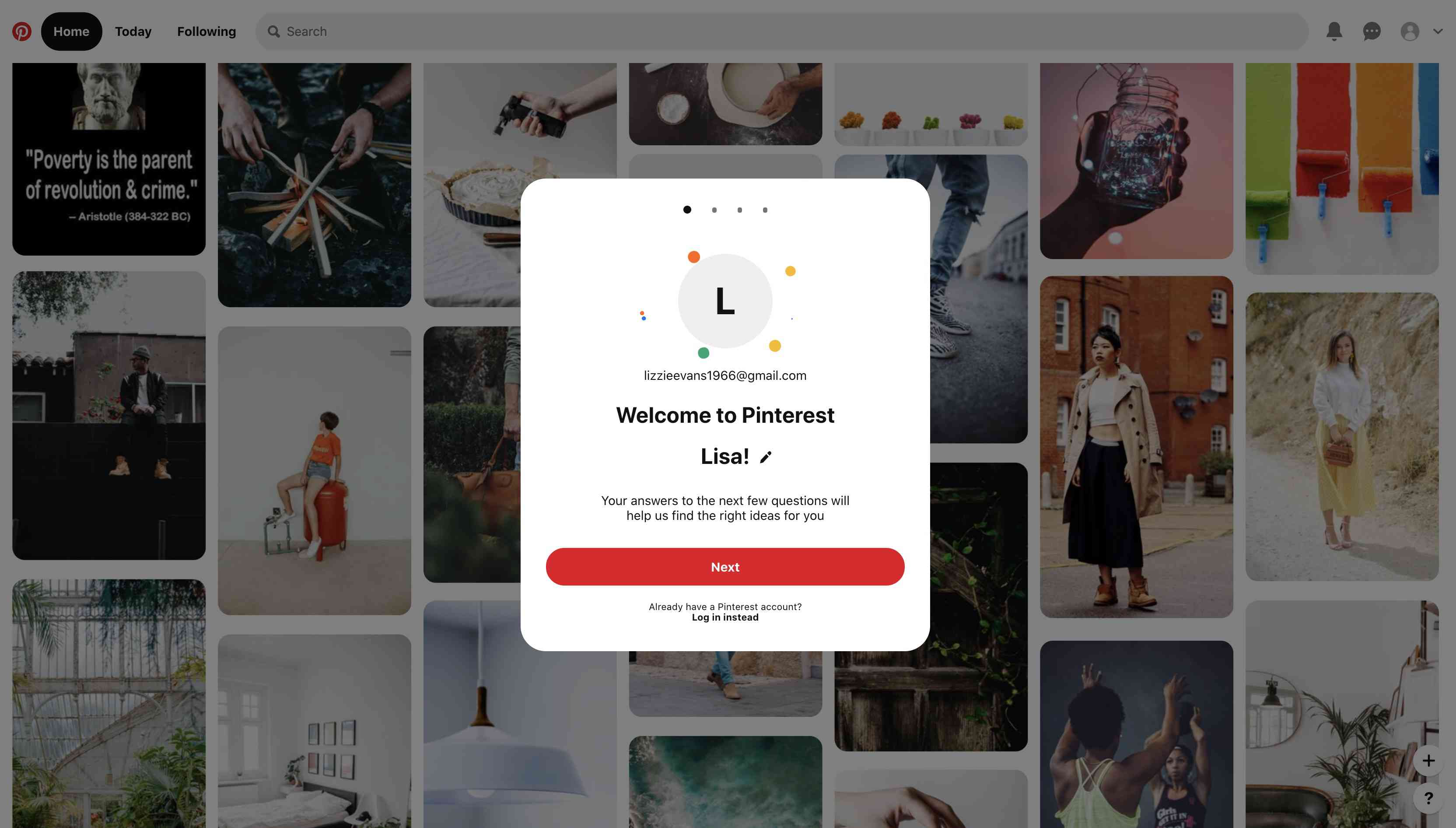 Welcome to Pinterest message