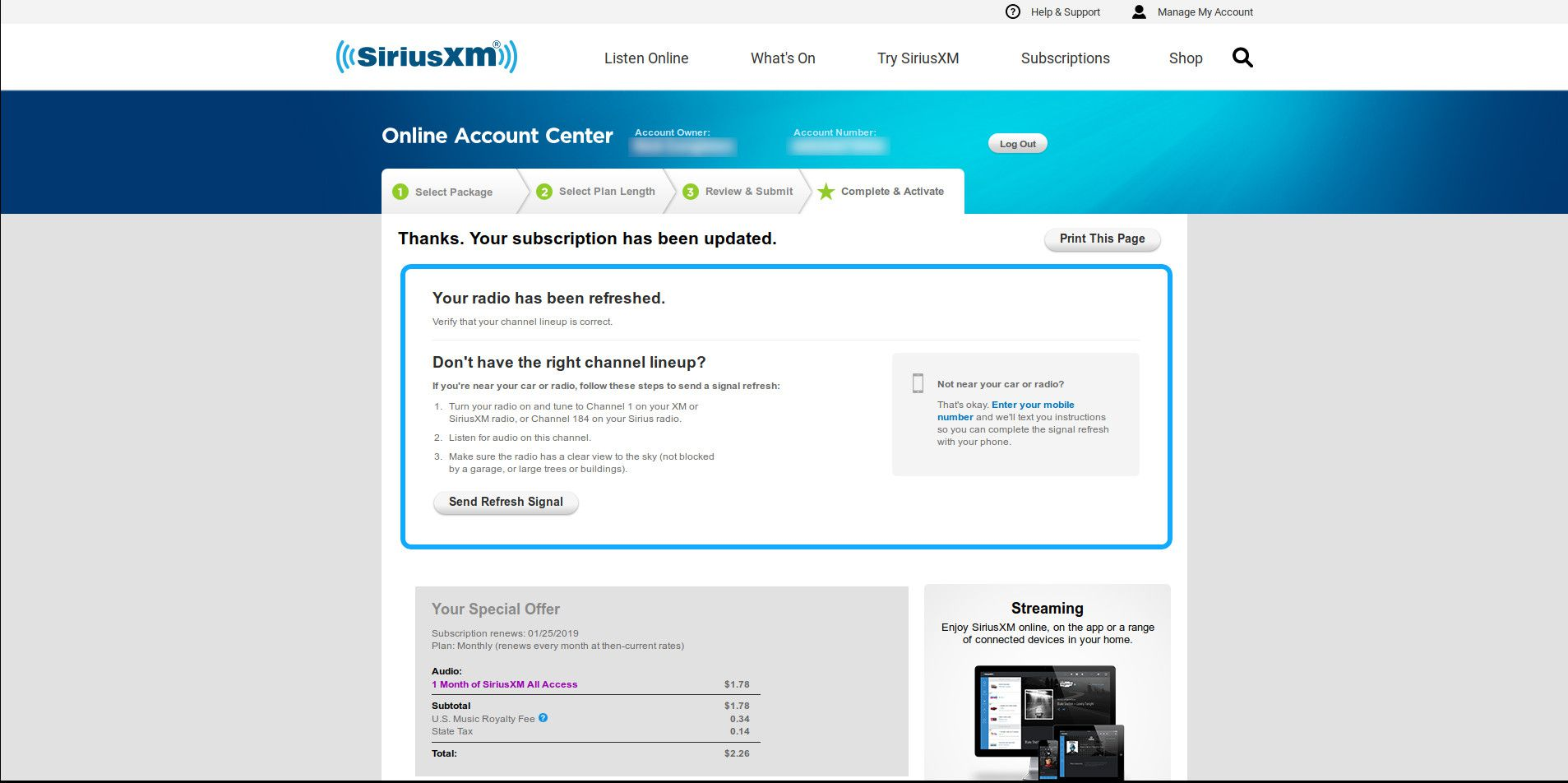 SiriusXM subscription confirmation page.