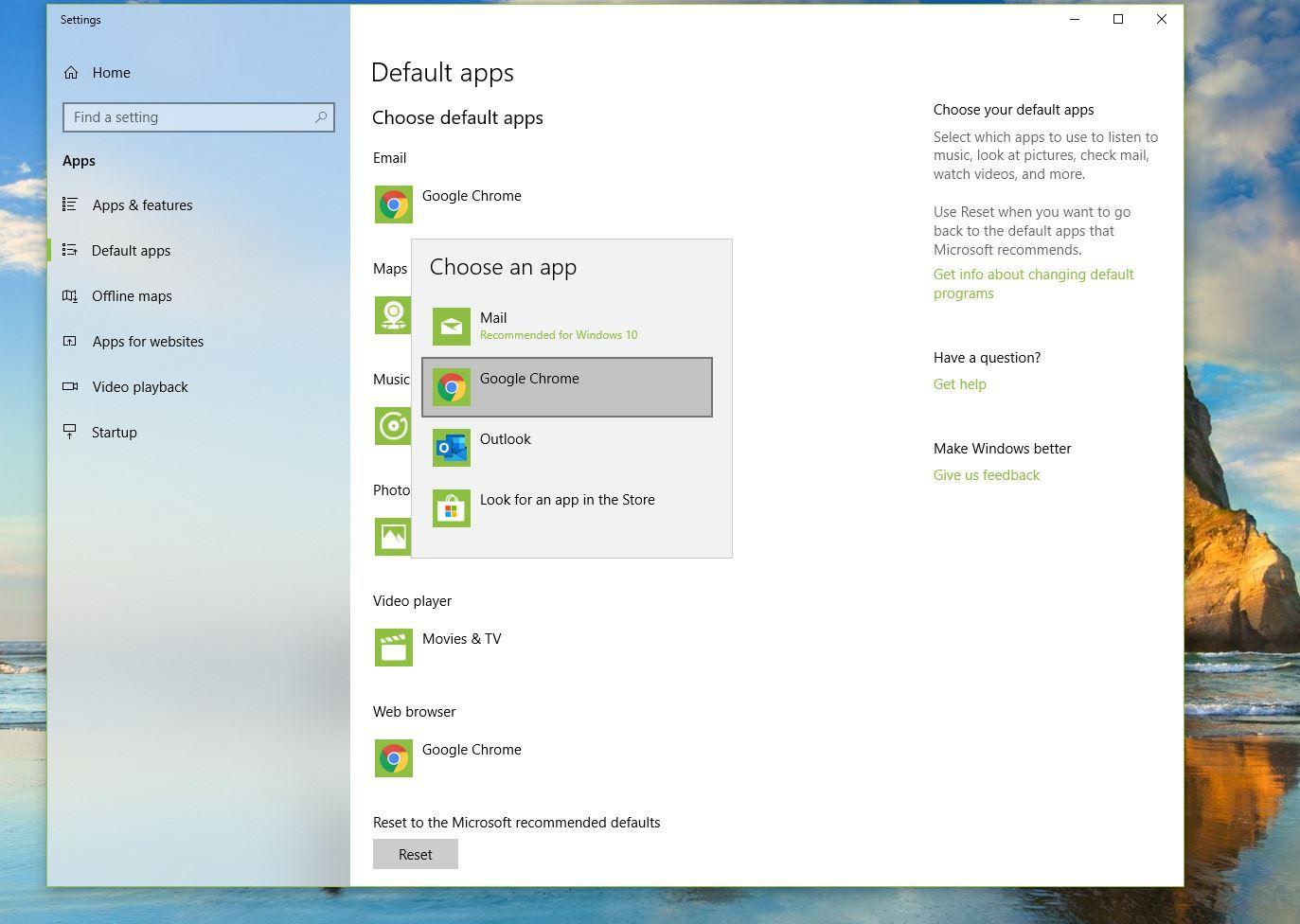 Screenshot of choosing Gmail as default email app in Windows 10