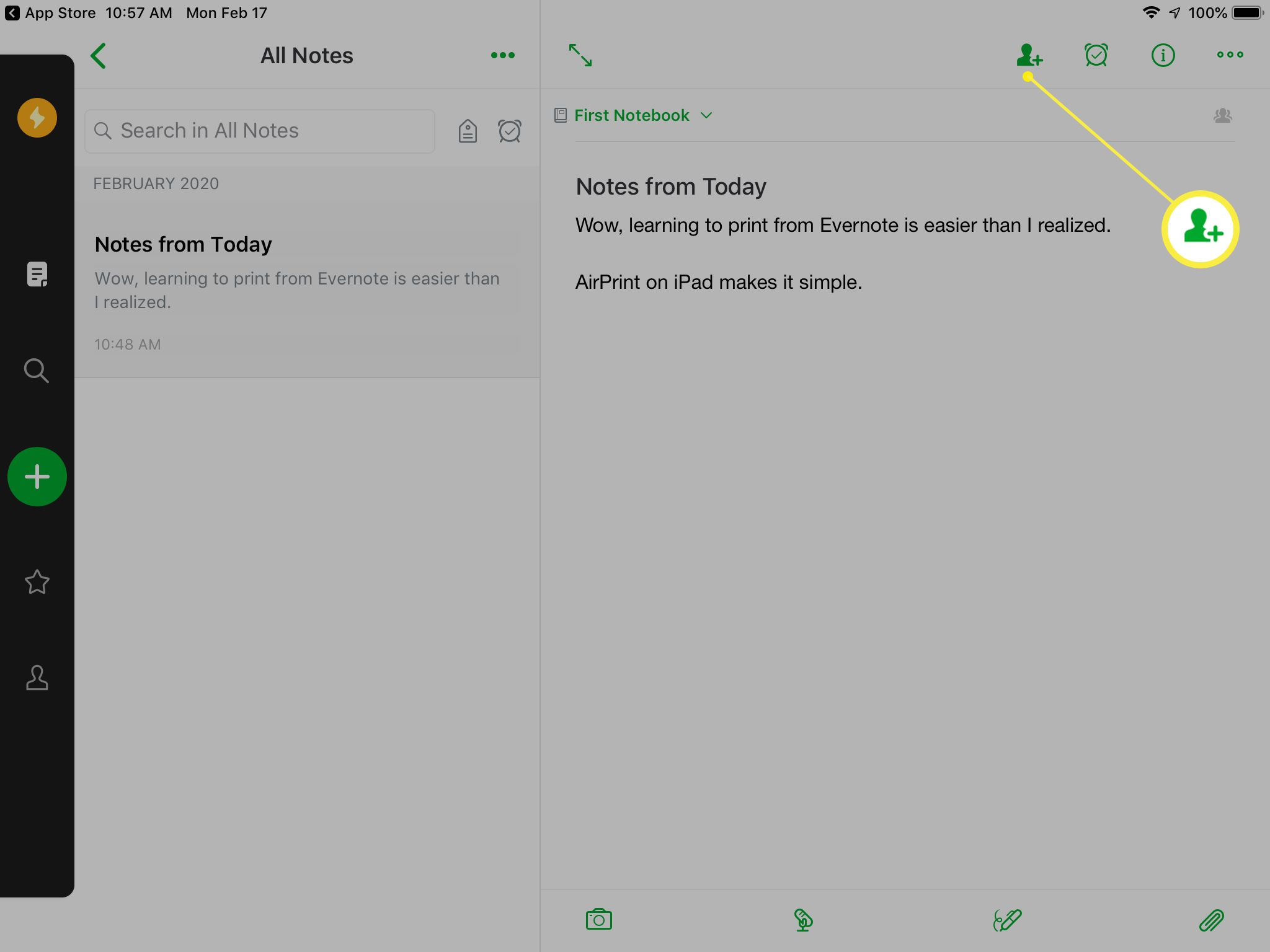 Evernote opening screen on an iPad