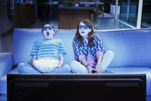Kids watching 3D TV