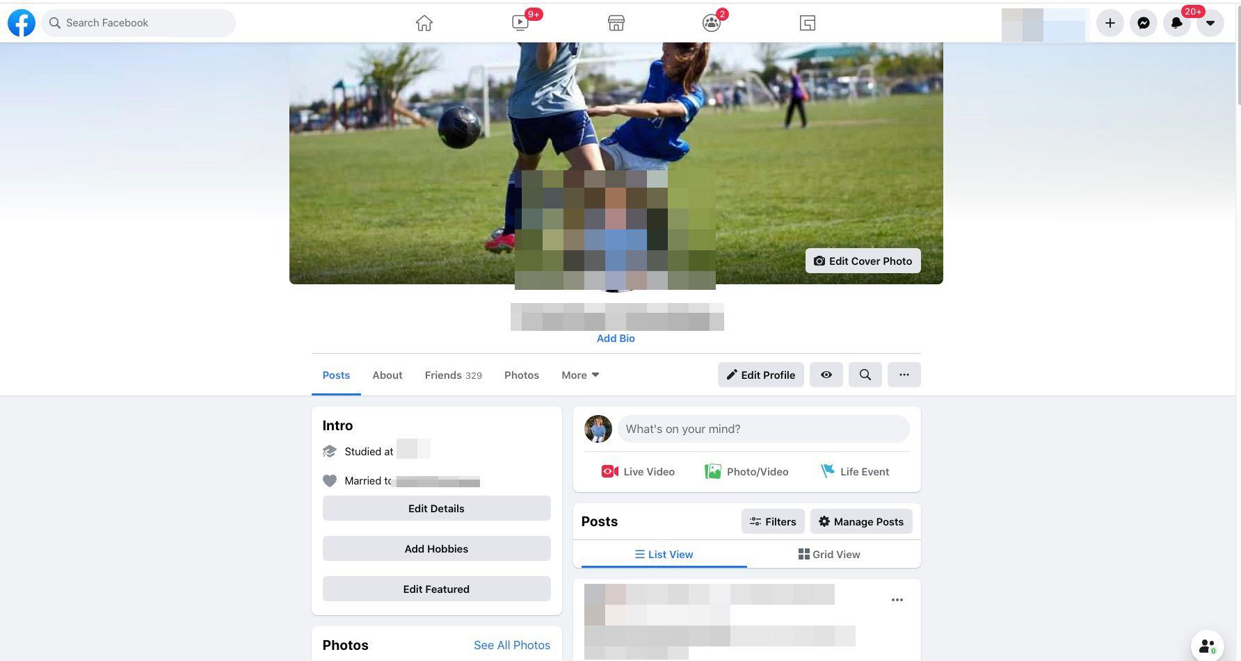 Facebook profile page example