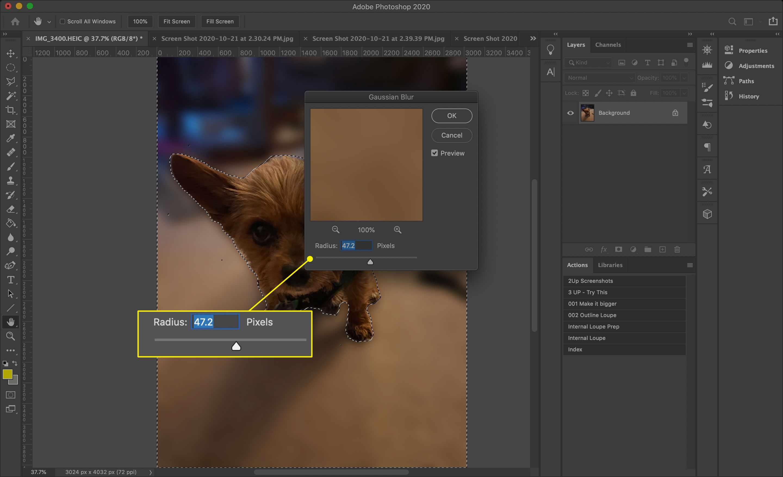 The Radius slider for Gaussian Blur in Photoshop[