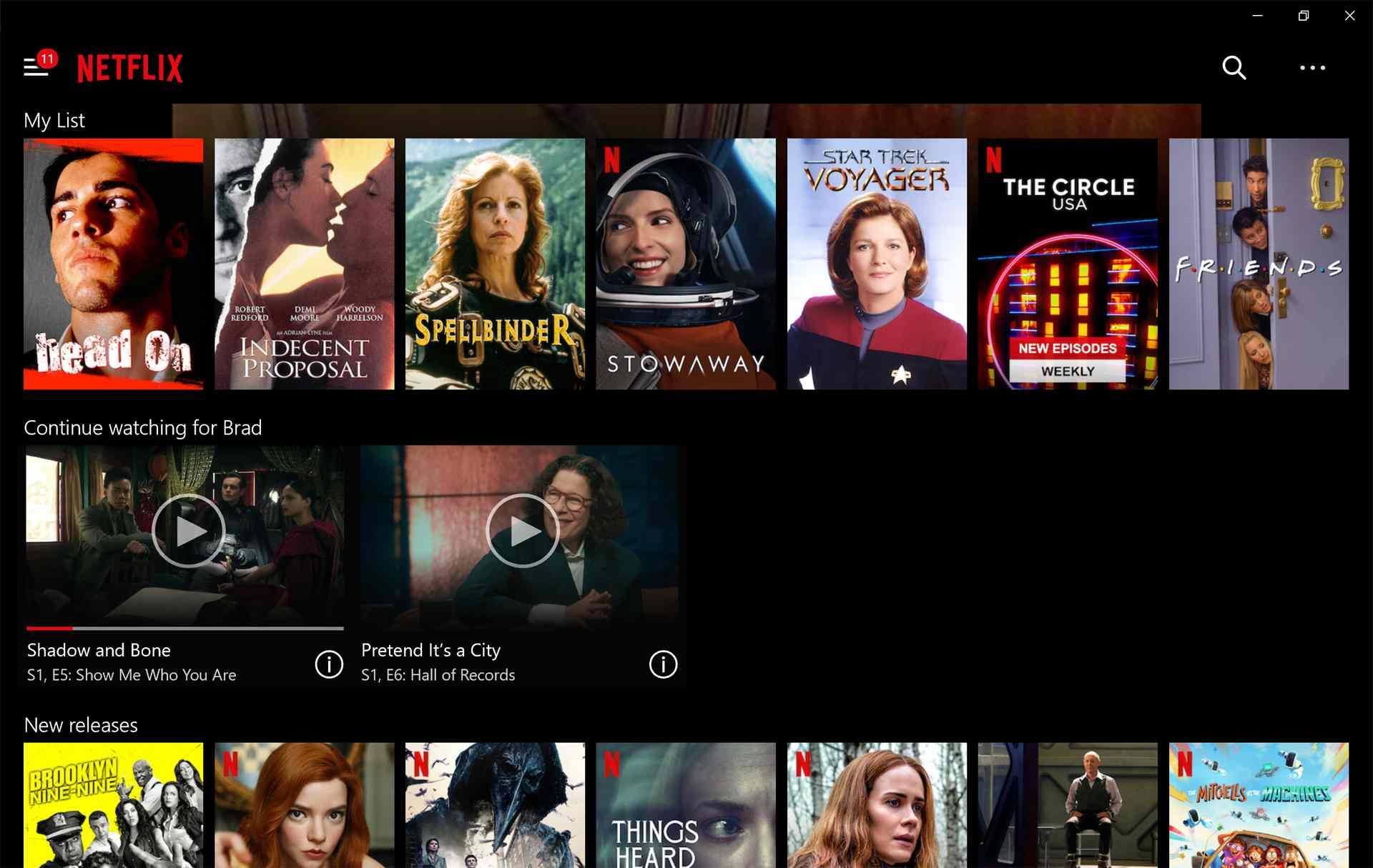 Windows 10 Netflix app.