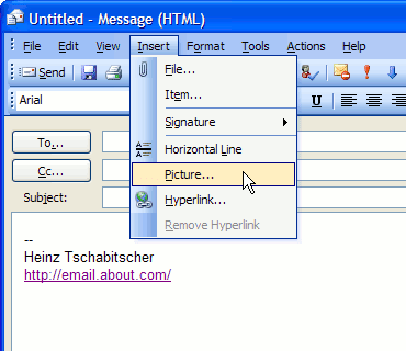 how to insert a graphic in outlook email signature