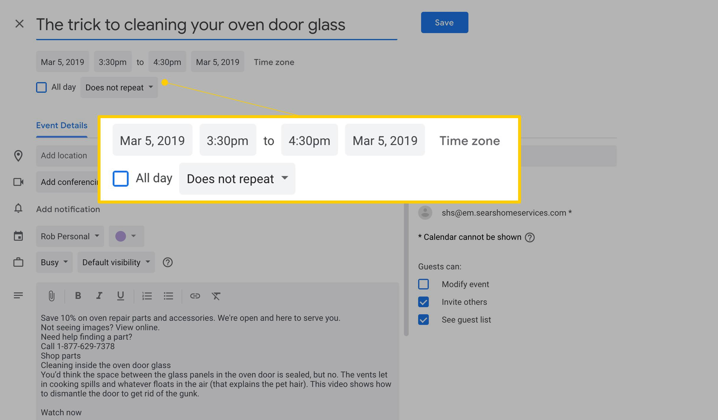 How to Create a Google Calendar Event From a Gmail Message