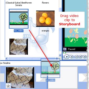 Drag video clip to Windows Movie Maker storyboard