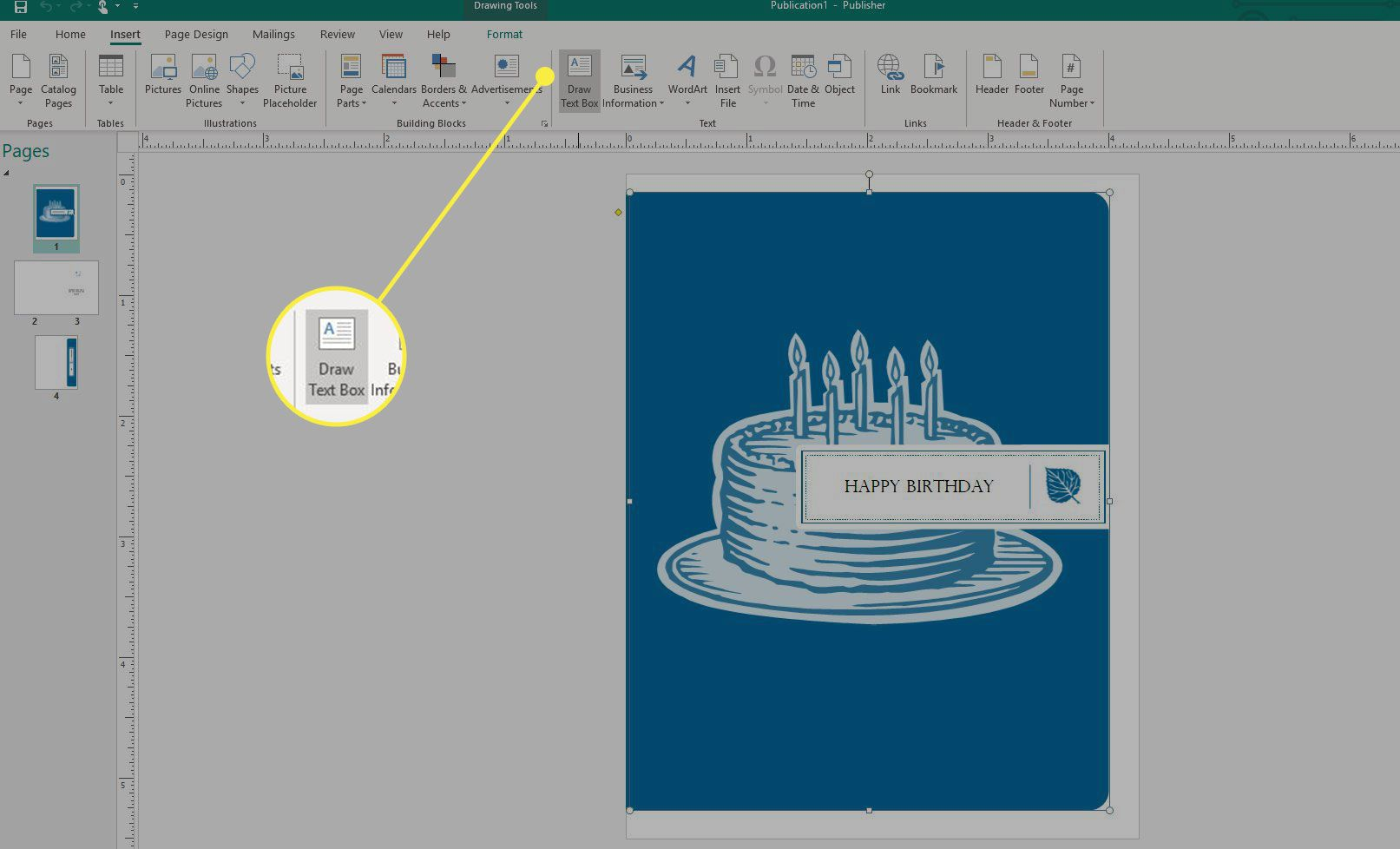 A screenshot of Microsoft Publisher with the Draw Text Box button highlighted