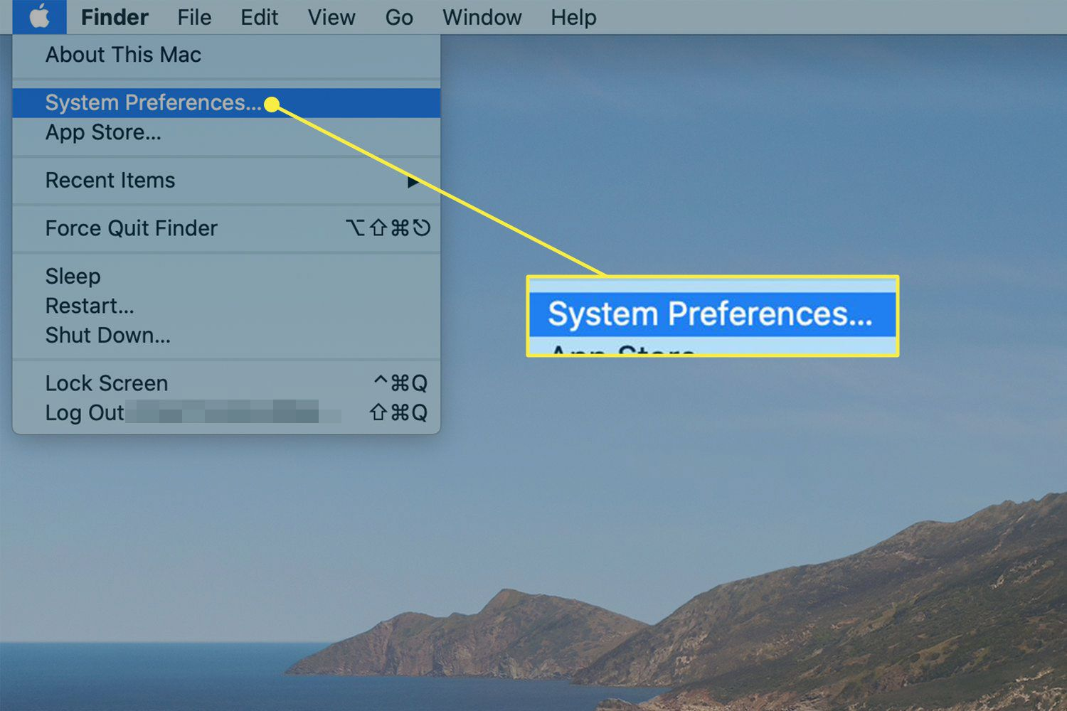 The Apple Menu on a Mac with the System Preferences command highlighted