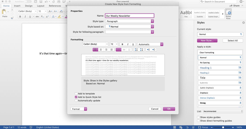 Screenshot of New Style window in Microsoft Word