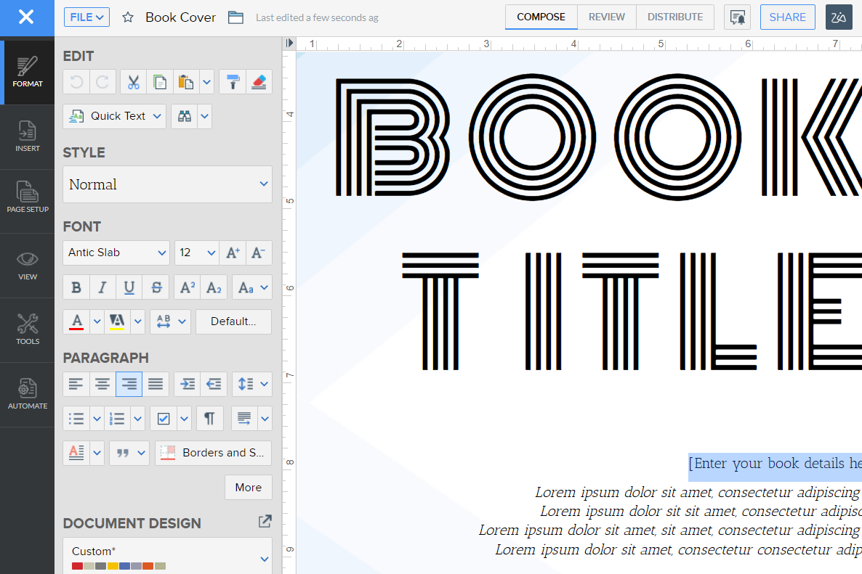Zoho Writer editing tools