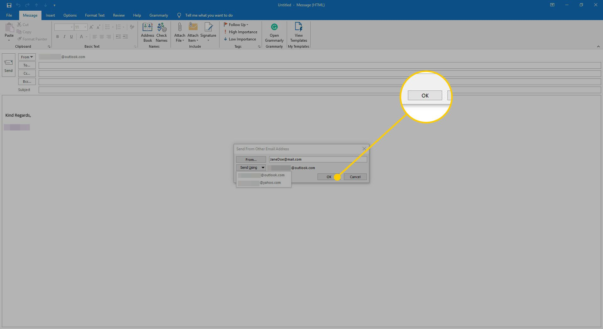 Send Using menu in Outlook with the OK button highlighted