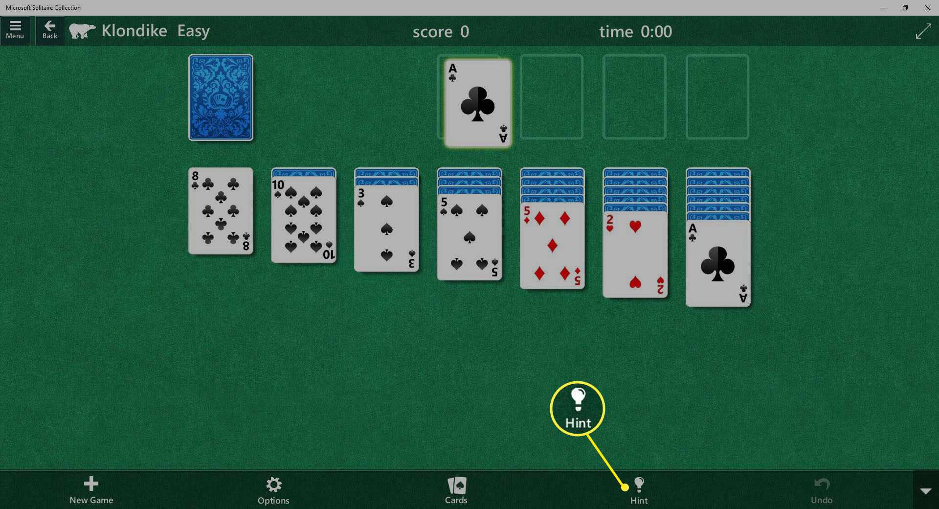 Screenshot of Hint in MS Solitaire