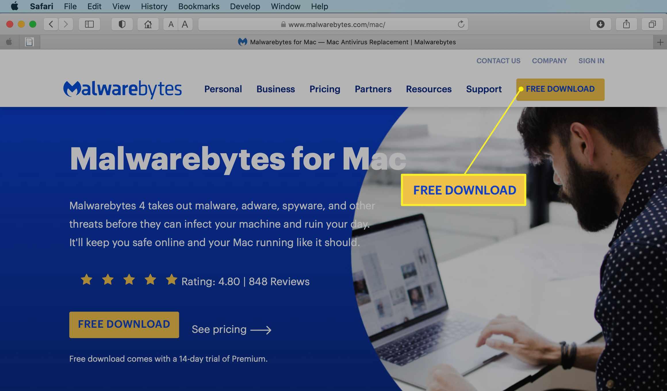 Malwarebytes for Mac website