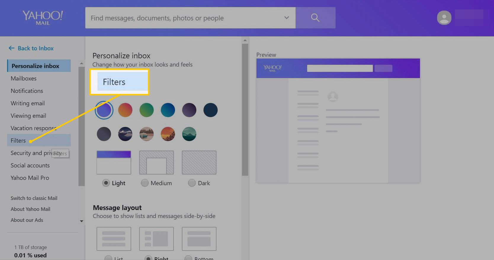 Filter in Yahoo Mail settings