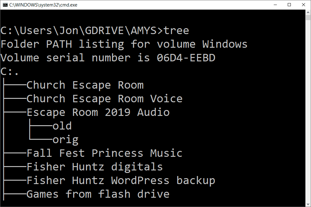 tree command in a command prompt