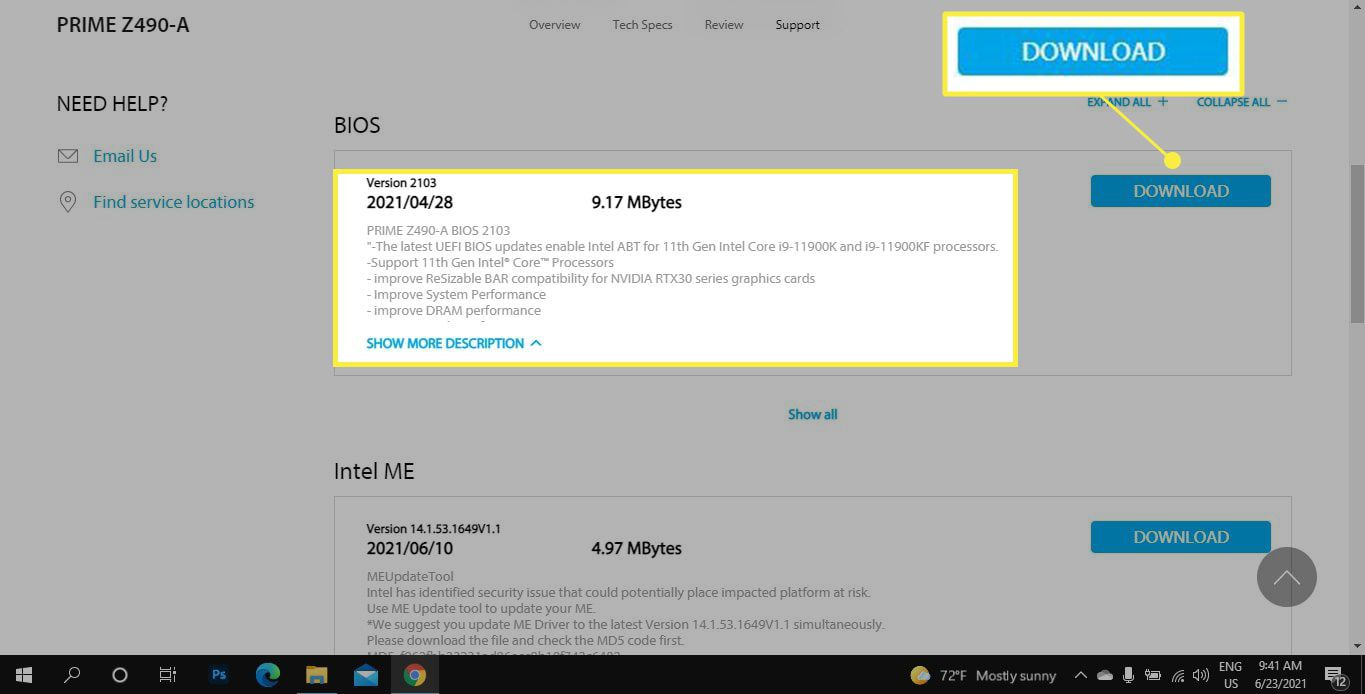 Download and BIOS in Asus Support Center