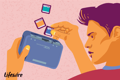 An illustration of a Nintendo 3DS user trying to play Nintendo DS games in the system.