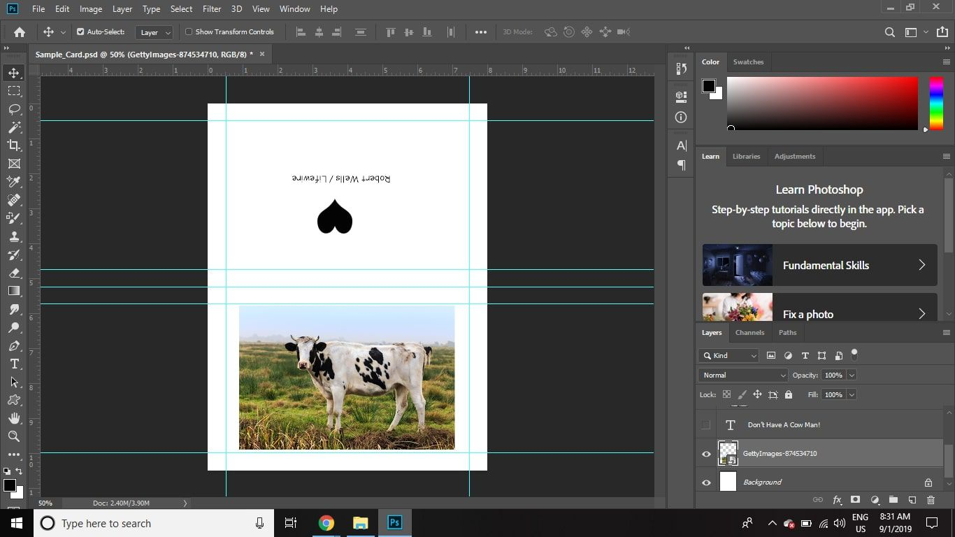Turn off the visibility of the message layer, and then turn on the image and logo layers.