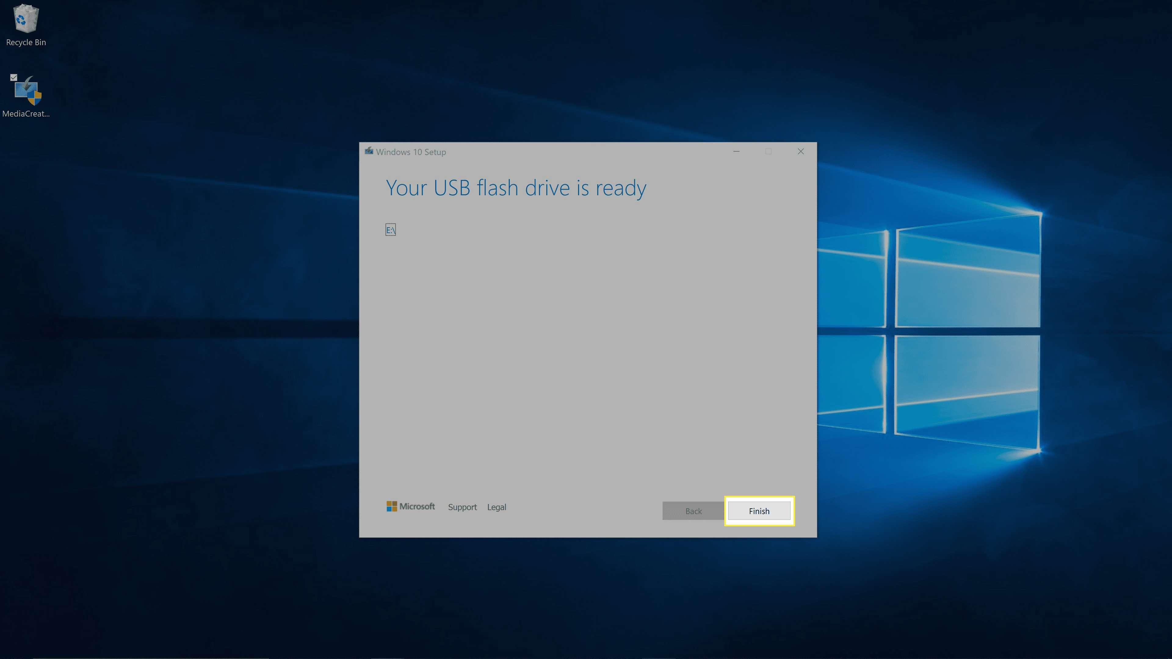 Windows Media Creation Tool completed.