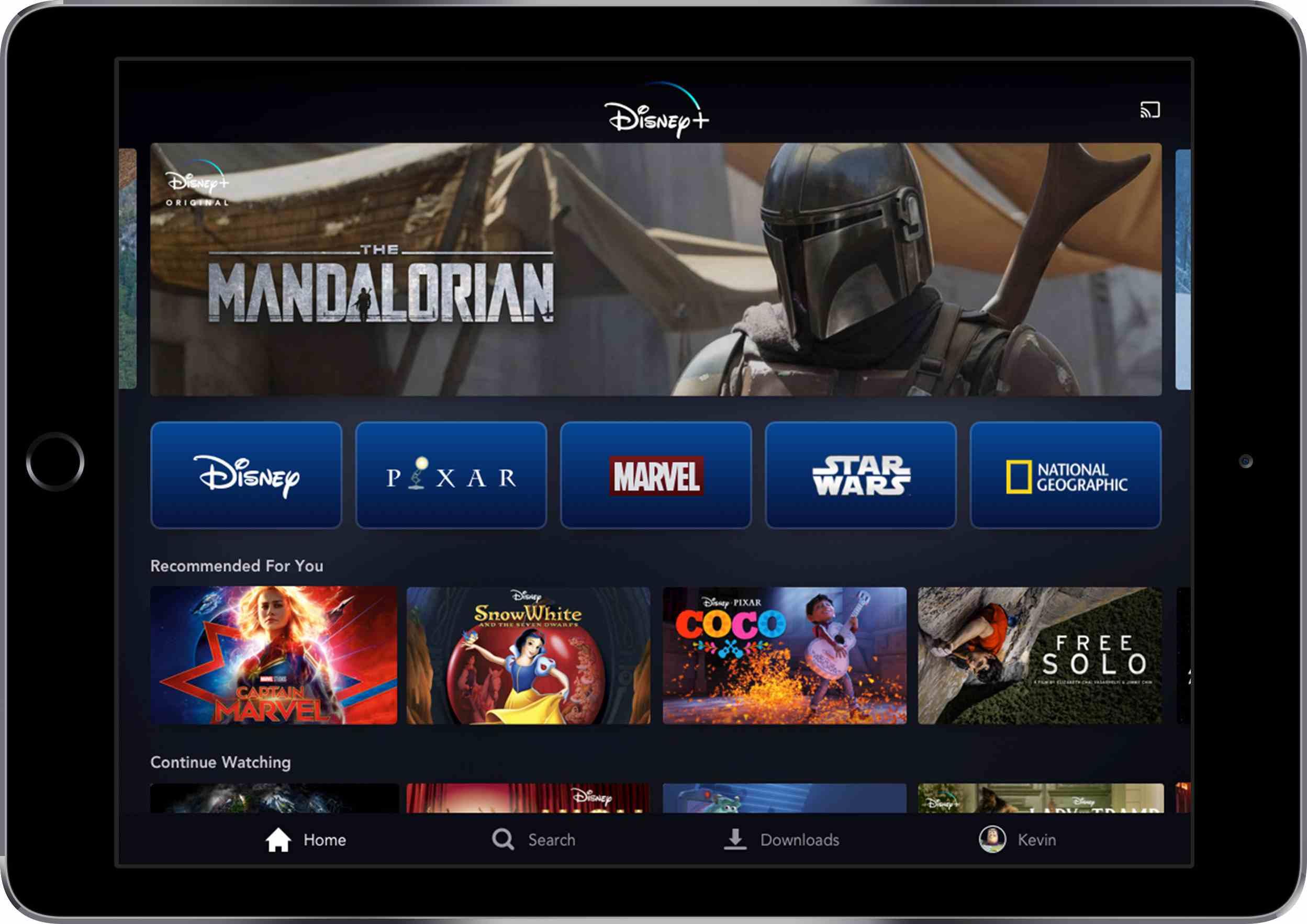 Disney+ displayed on a tablet.
