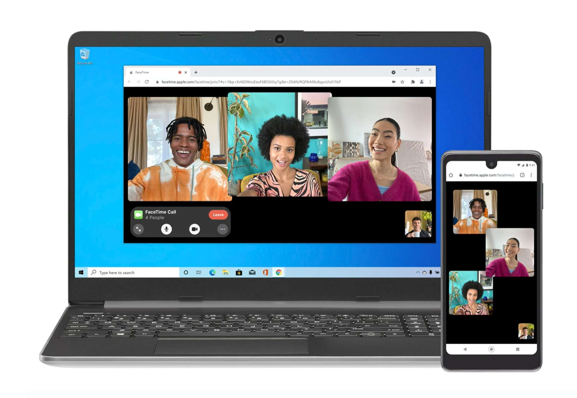 Preview concept image of FaceTime running on a Windows laptop in a web browser.