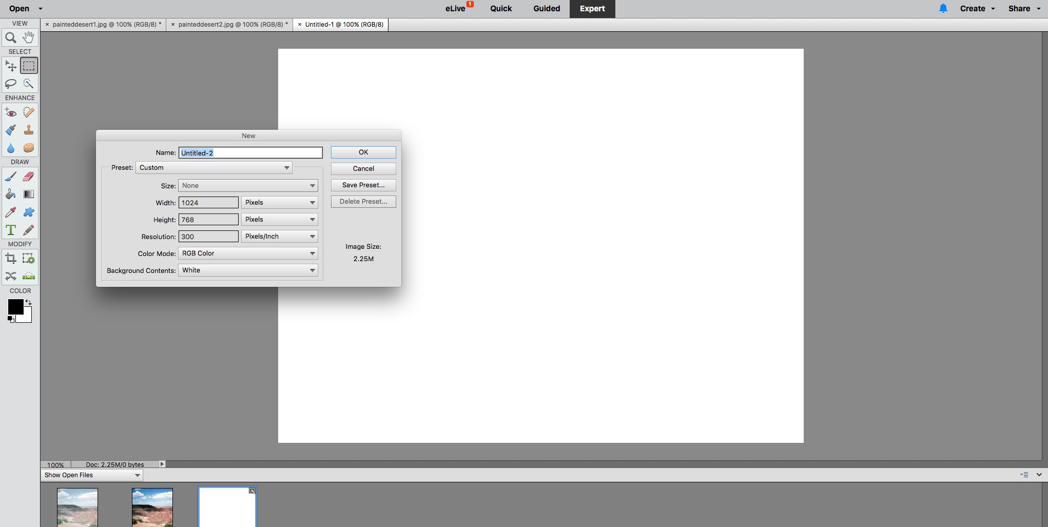 Creating a new blank document in Adobe Element