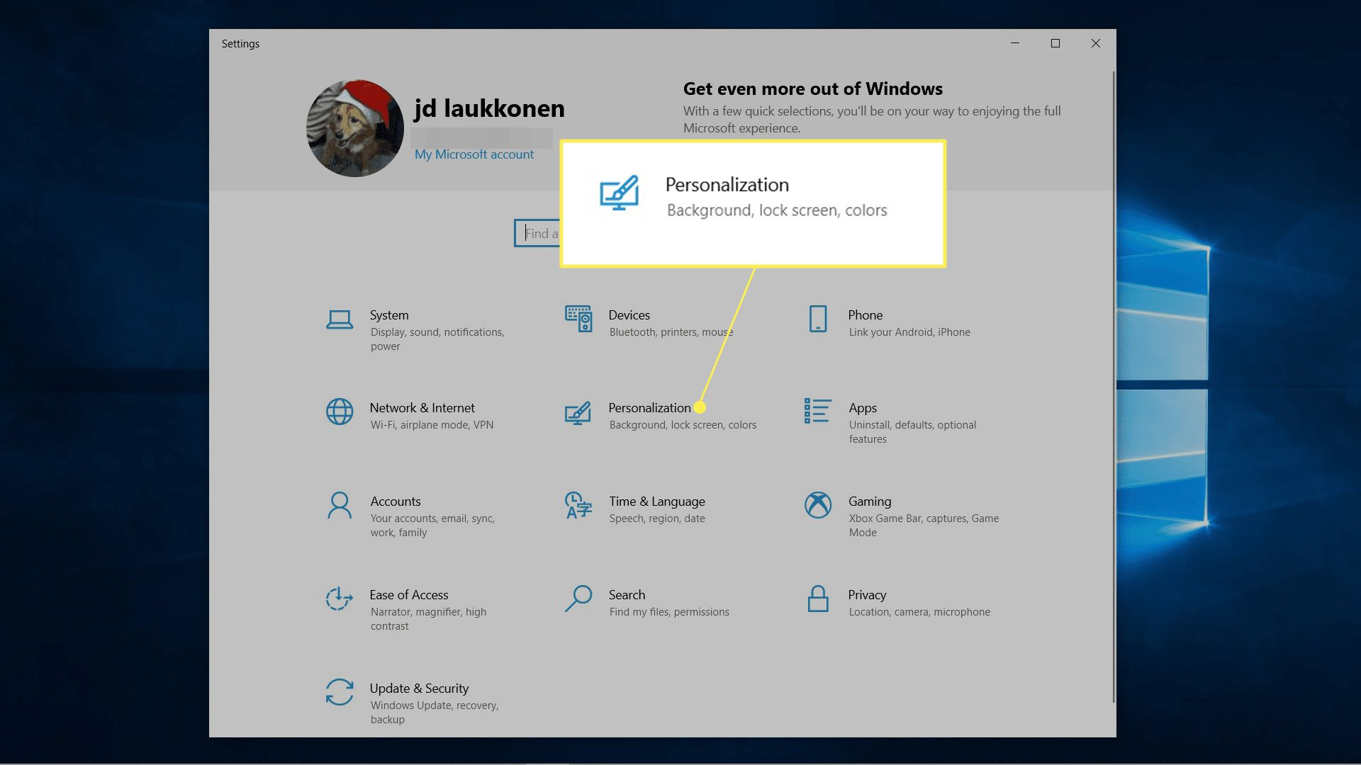 Personalization highlighted in Windows 10 settings.