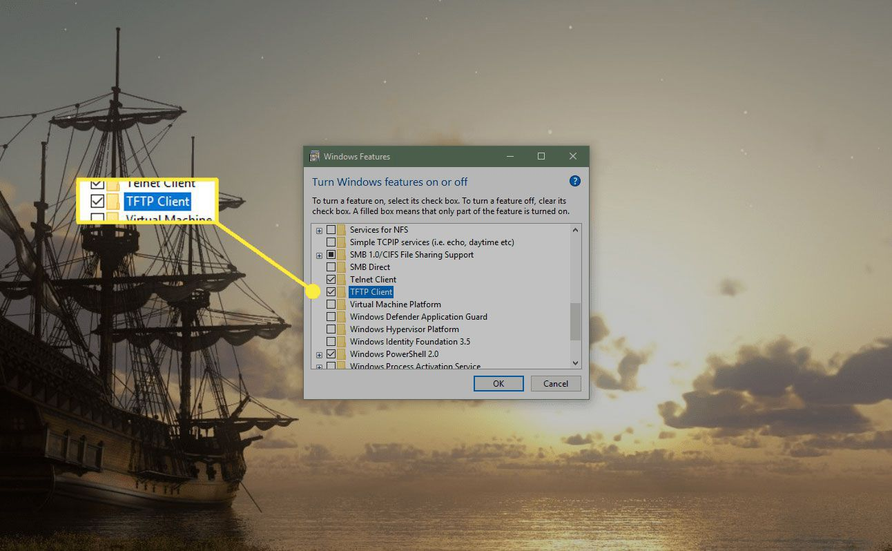 Windows Features section in Windows 10 with the TFTP Client option highlighted